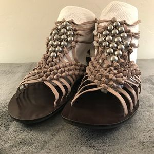 Leather and beaded zip-back sandals